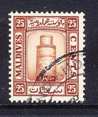 MALDIVE IS 1933 SG18A 25c brown - watermark upright - fine used. Catalogue £28