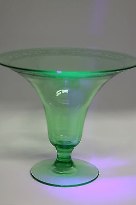 Large Uranium Glass Vase, Trumpet Style, with Etching, 7 inches Tall