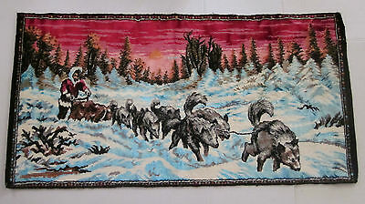 """VINTAGE Dog Sled Tapestry Made in Lebanon 40"""" x 20"""" Inch"""