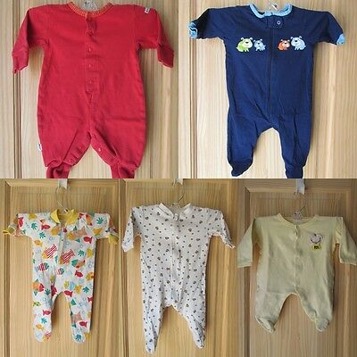 Lot Of Five (5) Cotton Footed Onesies Pajamas For Newborns Size 3-6 Month Euc!