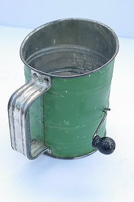 Vintage Bromwell's Bee Flour Sifter Tin Green Wood Knob Hand Crank Works