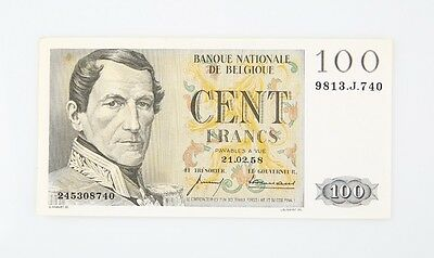 1958 Belgium 100 Franc Note Almost Uncirculated One Hundred Frank P#129c AU