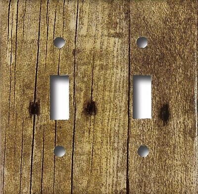 Rustic Barn Wood Design Look Double Toggle Light Switch Cover Wall Plate