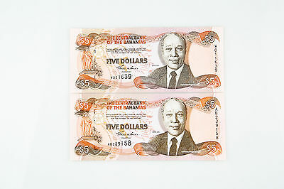 2001 Bahamas $5 Dollar UNC Lot of Two Notes P63B GEM's