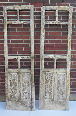 Pair Spanish Colonial Antique Wooden Doors Engraved Old Mexico 77 5/8""