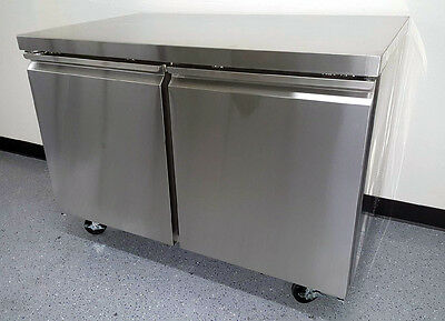 """TUC48R 48"""" Undercounter Two 2 Door Commercial Stainless Steel Refrigerator 11.9"""