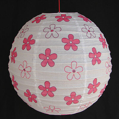 """2 of 16"""" White Chinese Paper Lanterns with Red Flower Pictures"""