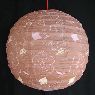 """2 of 16"""" Chinese Brown Paper Lanterns with Flower Pictures"""