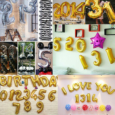 16 Inch Letter & Number Foil Balloons Birthday Day Party Decoration
