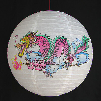 """2 of 12"""" Chinese White Paper Lanterns with Dragon Pictures"""