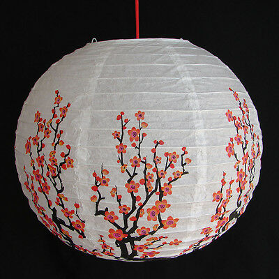 """2 of 12"""" Chinese White Paper Lanterns with Red Plum Pictures"""