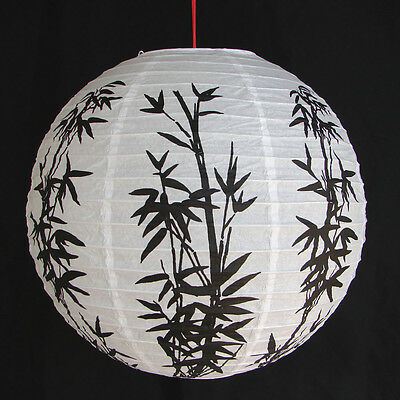 "2 of 12"" Chinese White Paper Lanterns with Bamboo Pictures"