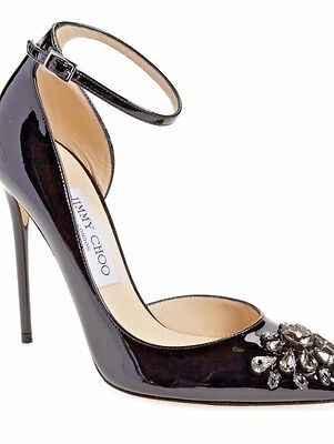 5cf3bc7599b  1125 New JIMMY CHOO Lucy Ankle Strap Sexy Pump Black Leather Crystal SZ 9.5