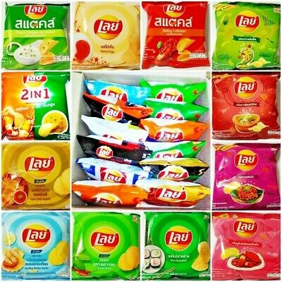 (+36%) 12 PACK OF THAILAND LAY LAYS POTATO CHIPS CRISPY THAI SNACK FOOD 13 g.