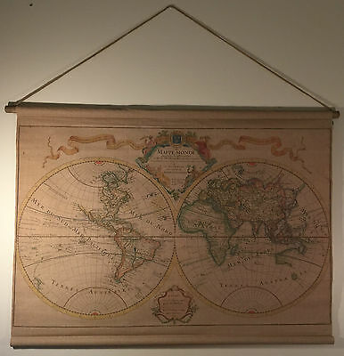 Vintage Style Hanging Linen World Map/Hemispheres Antique Look Wall Art 95x65cm