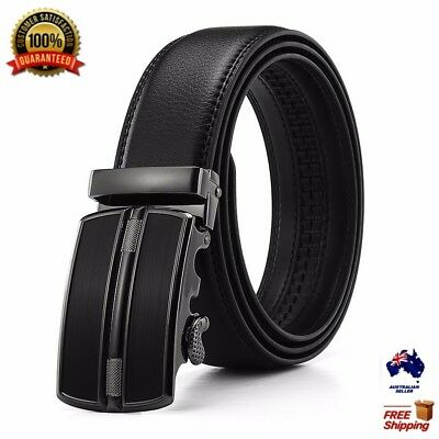 XHTang Mens Balck Automatic Buckle Belt Genuine Leather Waistband Jeans Gift