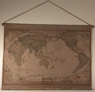 Vintage Style Hanging Linen World Map/Neutral Antique Look Wall Art 95x65cm
