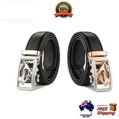 XHTang  Men Superman Automatic Buckle Belt Genuine Leather Waistband Jeans Gift