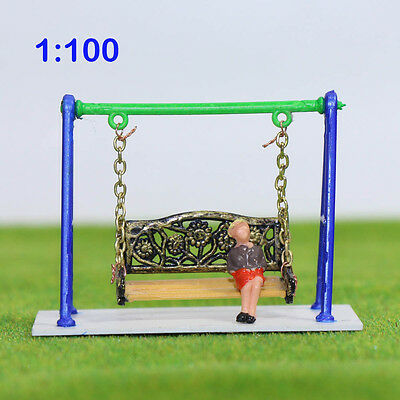 GY62100 1PC  Model Train Railway Swing chair Playground toys 1:100 TT Scale New