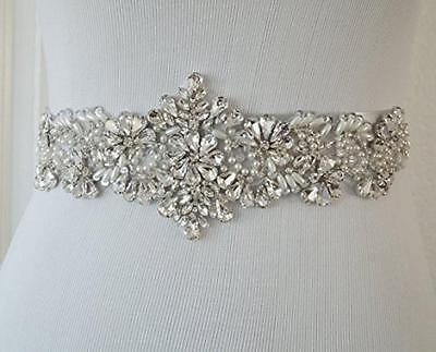 Crystal and Rhinestone Beaded Applique Bridal Belt Wedding Sash Applique, New, F