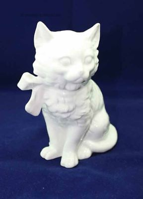Cat upright seated with Porcelain - Bow, LINDNER Porcelain, white