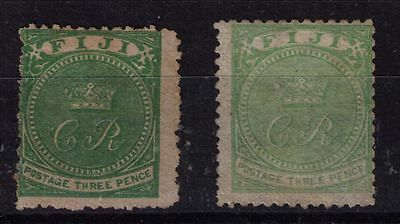 Fiji 1881 3d yellow green,2x shades, only one is listed in catalogue, fine mint