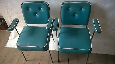 2 x 1950s Metal Framed Chairs + Arm Rests in Blue Vinyl + White Piping