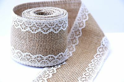 4 Metres- 5cm wide LUXURY 12oz Hessian Ribbon +Lace /Vintage,Wedding,Home,Garden