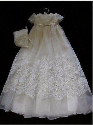 0-24month Size Infant Baptism Gown White/Ivory Christening Dress With Bonnet