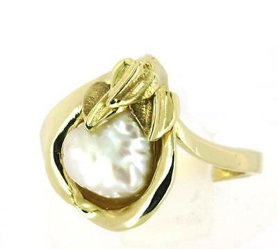 Baroque Shaped Freshwater Pearl 9Ct Gold Natural Flora Ring Size M