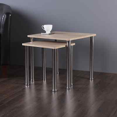 Contemporary Oak Effect 2 Nesting Side Tables Nest Of Tables Light Wood Finish