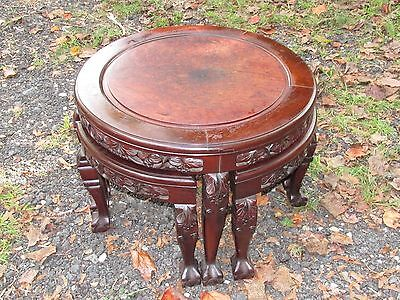 Chinese Antique Style Low Table wit 4 Stools Burl Inset 20th Century .