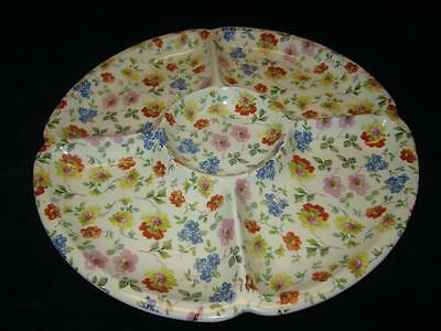 Erphila CAMBRIDGE CHEERY CHINTZ 5 Sectioned plate - Germany 1930's