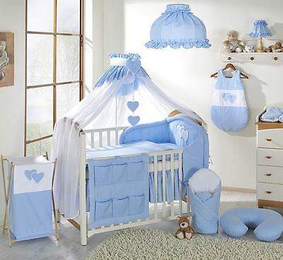 15 Piece Baby Bedding Set to fit Cot 120 x 60 cm - Hearts Blue