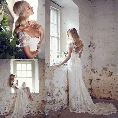 Vintage Lace Bridal Gown Wedding Dress Custom Size 2 4 6 8 10 12 14 16 18