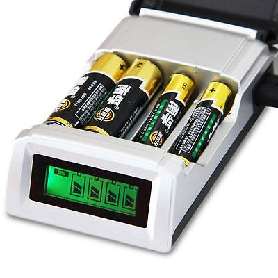 LCD Smart Intelligent Battery Charger For AA AAA NiCd NiMh Batteries W/ 4 Slots