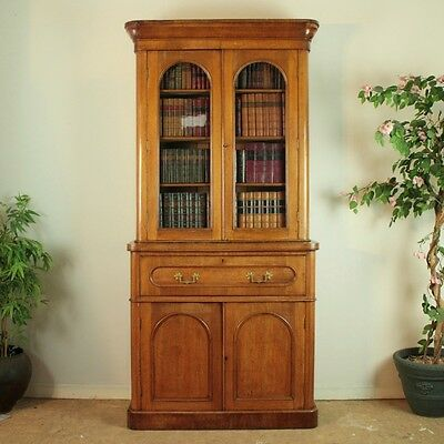 Antique Victorian Oak Two Door Secretaire Bookcase Cabinet - UK Delivery £125