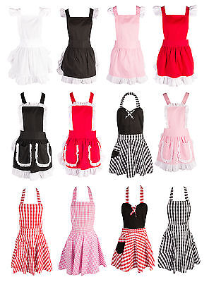 Womens Retro Vintage Ruffle Apron Kitchen Cooking Baking Cleaning Maid Costume