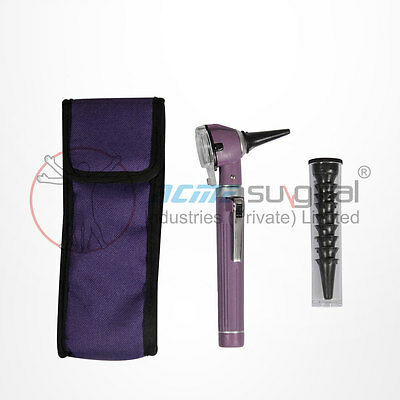 Fiber Optic Otoscope Mini Pocket Medical Ent Diagnostic Purple Set Ce