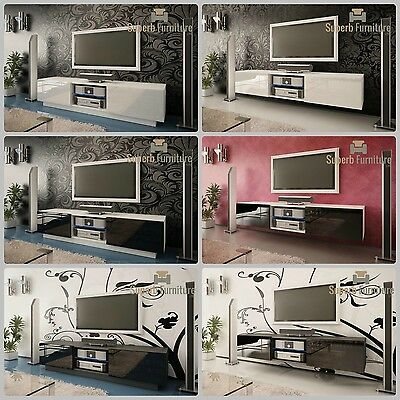 Superb TV Stand Unit Cabinet 160cm + Floating or Standing + Gloss + LED