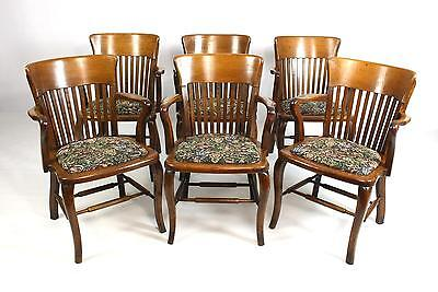 Set of 6 Oak Antique Arts & Crafts Dining Chairs - All Carvers or Open Armchairs