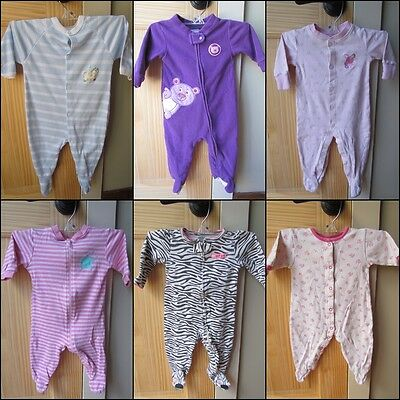 Mixed Lot Of Six (6) Baby Girl Footed Onesie Pajamas Size 6 Months Cotton & Poly