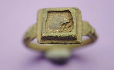 Late Medieval bronze decorated ring with glass insert 14th-15th century AD