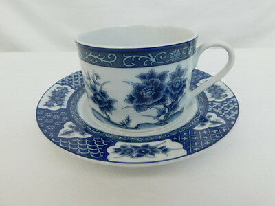 Imari Blossom Cup Saucer Set China Blue Asian Floral Butterfly