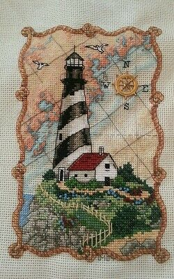Lighthouse counted cross stitch completed