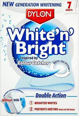 Dylon White N Bright 7 Sheet Washing Powder Bright Whites Clothes Cleaning