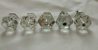 "5 Vintage Architectural Salvage Clear Glass Drawer Pull Knobs 1/2"" Art Deco"
