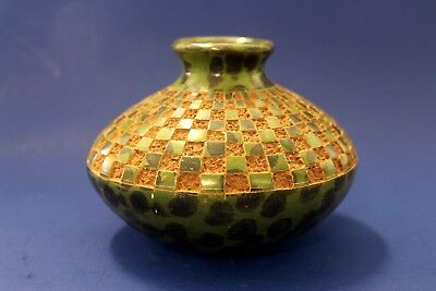 Original Mexican Green and Black Terra Cotta Clay Pot Carved Checkered Pattern
