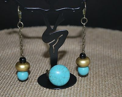 Antique Gold and Turquoise Earrings and Ring Set