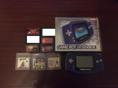 Nintendo Gameboy Advance Console Boxed + 7 Games Pokemon Sapphire Emerald Ruby